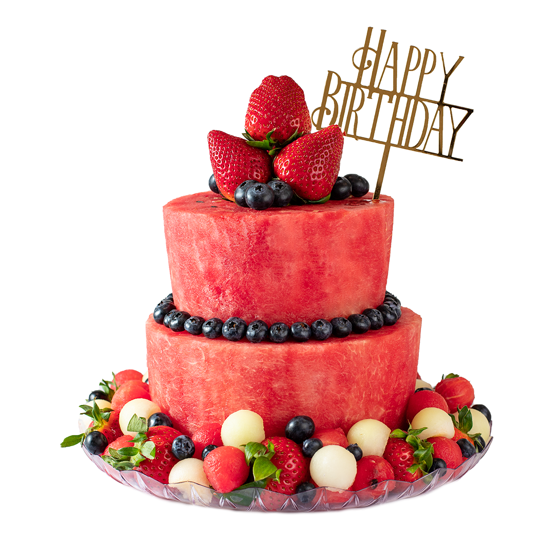 Melon Cake with golden Happy Birthday topper 2-Tier