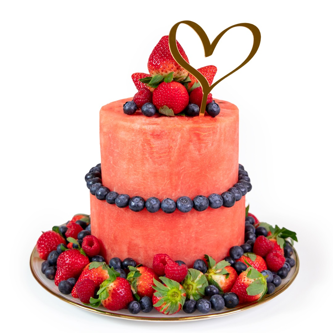 The Love Cake with golden heart topper 2-tier