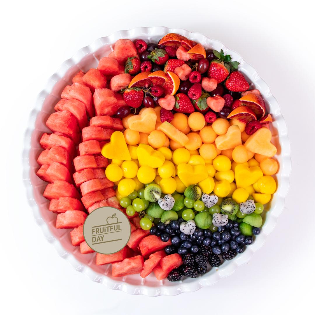 XL Rainbow Heart Platter -  45 cm white